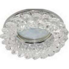 Ecola Light MR16 CD4141 GU5.3 Светильник встр. круглый с хрусталик. Проз/Хром 50x90 (кd74)FW1617EFY.