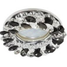 Ecola Light MR16 CD4141 GU5.3 Светильник встр. круг. с хрустал. Проз. и Черн./Хром 50x90 FG1617EFY