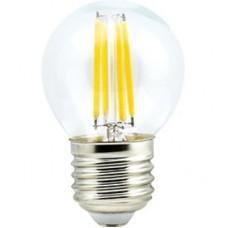 Ecola globe   LED  5,0W G45 220V E27 4000K 360° filament прозр. нитевидный шар 68х45 N7GV50ELC