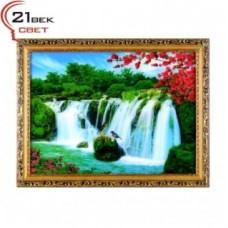 Картина 600DB-09 в багете с подсв. Водопад и птички (5) 43*56см