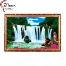 Картина 1120DB-41 с подсвет. Водопад со львами (3)